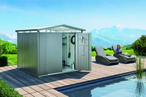 Abri Panorama gris quartz, double porte 5,40 m²